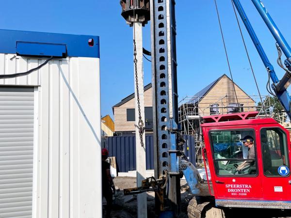 Fundering/staalconstructie WikiHouse fase 2 ,De Stripmaker te Almere